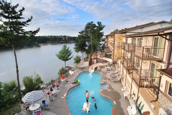 View overlooking the Outdoor Swimming Pool and Water Slide at Cliffside Resort Wisconsin Dells