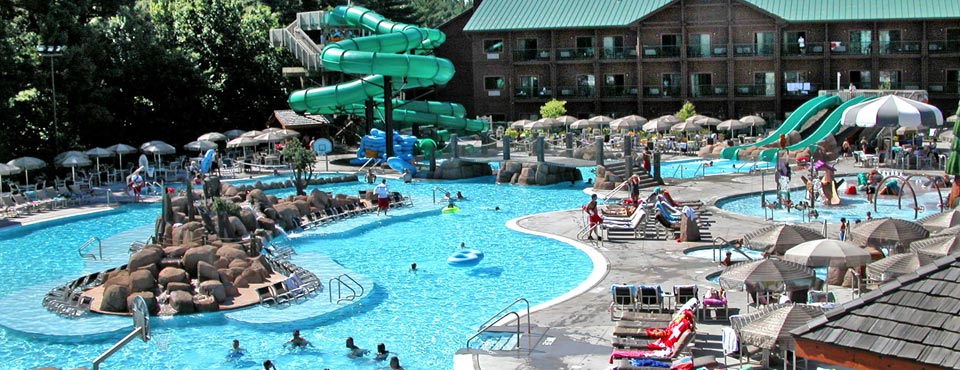 View of one of the Outdoor Water Parks at the Wilderness Resort in Wisconsin Dells with Water Slides and Lazy River 960